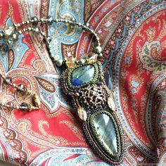 Купить Кулон из лабрадора и кристаллов Сваровски в интернет магазине на Ярмарке Мастеров
