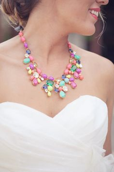 Statement Necklaces for your wedding? Maybe candy brights are more your thang? And you'd be bang on trend too with a neon statement necklace. Wedding Jewelry, Jewelry Box, Jewelry Accessories, Fashion Accessories, Unique Jewelry, Wedding Accessories, Jewellery, Rainbow Wedding, Love Fashion