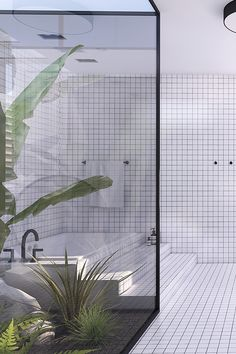 Contemporary minimalistic bathroom design, urban bathroom design, atrium with tropical plants, bathroom with atrium Patio Interior, Bathroom Interior Design, Interior And Exterior, Interior Decorating, Bathroom Designs, Bathroom Ideas, Bathroom Goals, Bathroom Layout, Bathroom Bench