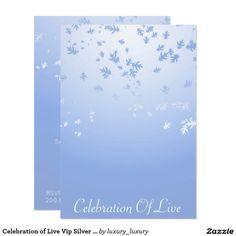 Celebration of Live Vip Silver Blue 9 Cm X 13 Cm Invitation Card