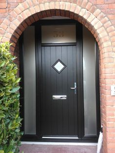Black Front Door Composite Style Ideas For Front Door Composite Style Ideas For 2019 style doorVictorian front door with stained glass and chrome ironware Victorian front door.Victorian front door with stained glass Upvc Front Door, Front Door Images, House Front, Black Composite Front Door, Victorian Front Doors, Black Front Doors, Green Front Doors, Front Door Styles, Composite Front Door