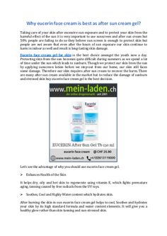 Why eucerin face cream is best as after sun cream gel? After Sun, Take Care, Your Skin, Fails, Skin Care, Cream, Products, Creme Caramel, Make Mistakes