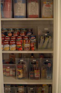 Makes me want to reorganize my pantry — awesome idea to have little things like spices all in one container. And tiered cans to see the labels. Wow.