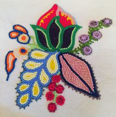 Beadwork by Jaime Morse. Owned by RCMP Beading Ideas, Beading Patterns, Native Design, Nativity Crafts, Native Beadwork, Bead Art, Ancestry, Fabric Crafts, Painted Furniture