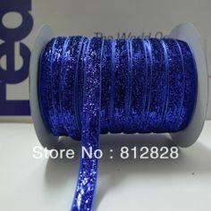 3/8'' 10mm Wide Single Side Royal Blue Metallic Velvet Ribbon Great For Headbands
