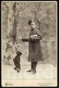 Wonderful Victorian Snowy Winter Scene of Boy with от diabolus, $285.00