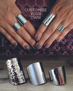 Customize your own cuff ring / silver tube ring / by AshkalShop