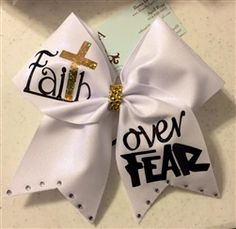 FaiTh over FEAR White Mystique Cheer Bow Cute Cheer Bows, Cheer Mom, Big Bows, Cheer Stuff, Softball Bows, Cheerleading Bows, Volleyball, Soccer, Diy Crafts Magazine