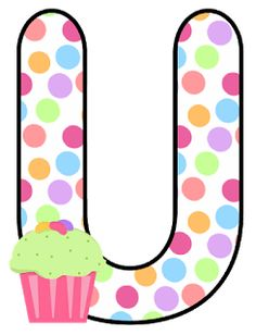 Abecedario con Lunares de Colores y Cupcakes. Alphabet with Colored Polka Dots and Cupcakes. Scrapbook Letters, Letter I, Alphabet Letters, Letter Board, Abc For Kids, Glitter Letters, Letter Balloons, Love You More Than, Minnie