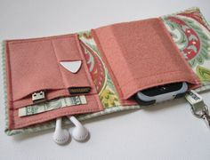 Cool idea, but no pattern - Nerd Herder gadget wallet in Celadon Chic for iPod, Droid, iPhone, camera, earbuds, SD cards, USB, extra batteries, guitar picks,
