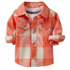 Old Navy Patterned Shirt For Baby (€11) ❤ liked on Polyvore featuring baby, baby boy, kids and kids clothes