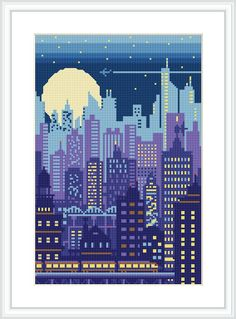 London England Abstract ~ Landscapes ~ DIY Counted Cross Stitch Pattern