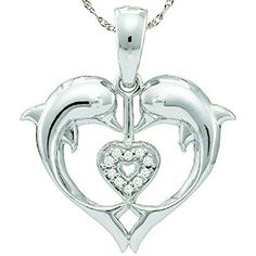 005 Carat ctw 10K White Gold Round White Diamond Ladies Heart Shape Double Dolphin Pendant -- Want additional info? Click on the image.(This is an Amazon affiliate link and I receive a commission for the sales)