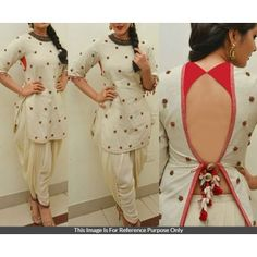 Cotton Thread Work Off White Semi Stitched Dhoti Style Suit - 17