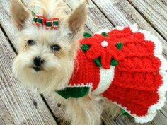 Crocheted Christmas Dog or Cat Sweater Dress - Brenna's Top 25 Pet Gifts to Receive from Santa {Faith, Hope, Love, & Luck Survive Despite a Whiskered Accomplice} - Dog Sweater Pattern, Crochet Dog Sweater, Dog Pattern, Dog Crochet, Crochet Gifts, Chat Crochet, Crochet Mignon, Crochet Dog Clothes, Pet Clothes