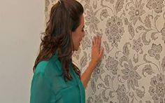 Dani Borba mostra o passo a passo da aplicação de tecido na parede