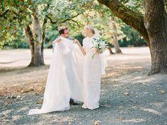 Photography : Marina Koslow Photography | Event Planning : AE Creative | Wedding Dress : Prada Read More on SMP: http://www.stylemepretty.com/2016/04/05/orgeon-barn-wedding-with-custom-prada-dress/