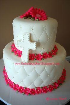 Hot Pink Communion Cake!  Triple Chocolate Fudge Cake with Oreo Buttercream  Fondant Finish & Decoration