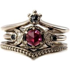 Black Diamond And Garnet Crown and Moon Engagement Ring Set Gothic Vic ❤ liked on Polyvore featuring jewelry, rings, goth rings, garnet engagement rings, victorian garnet ring, black diamond engagement rings and engagement rings