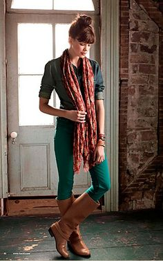 Fossil Fall 2012.  Loving the colored denim, top knot + bangs, and brown boots.