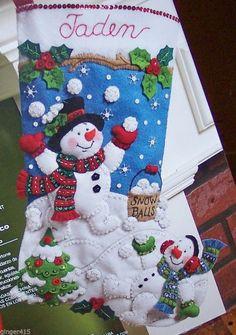 "Bucilla ""SNOWMAN GAMES"" Felt Christmas Stocking Kit New"