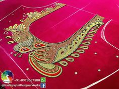 Patterns Maggam Work And Aari Work Blouse Designs For Border Saree Peacock Blouse Designs, Peacock Embroidery Designs, Silk Saree Blouse Designs, Saree Blouse Patterns, Fancy Blouse Designs, Designer Blouse Patterns, Bridal Blouse Designs, Chudidhar Neck Designs, Peacock Design