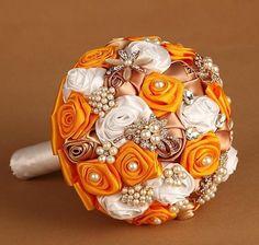 Made to order Fall Wedding Satin Ribbon Roses Pearl by NicksBridal