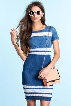 Джинсовое платье Размеры: S, M, L Цвет: синий Цена: 2482 руб.  #одежда #женщинам #платья #коопт