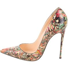 Pre-owned Christian Louboutin Python So Kate Pumps ($695) ❤ liked on Polyvore featuring shoes, pumps, neutrals, multi color shoes, pointy toe pumps, multi colored pumps, pointed toe shoes and patterned pumps