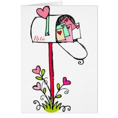 Happy Valentine's Day Mailbox Of Hearts Card - valentines day gifts gift idea diy customize special couple love