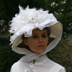 White Hat - 71.00 - Victorian Hats | Recollections