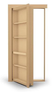 Flush Mount Paint Grade Bookcase Hidden Door - Murphy Door, Inc. Hidden Doors In Walls, Hidden Door Bookcase, Hidden Rooms, Hidden Closet, Secret Door Bookshelf, Pine Bookcase, Wall Bookshelves, Bookcases, Murphy Door