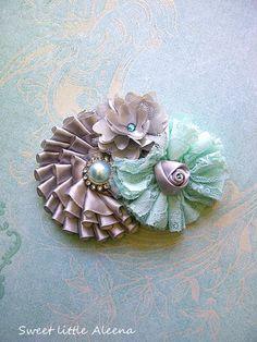 Silver Grey and Mint Green Fancy Flower Girl by SweetLittleAleena, $12.99