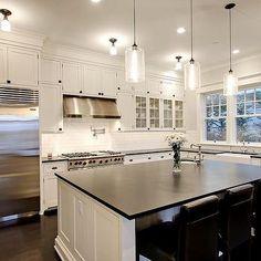 Honed Black Granite, Transitional, kitchen, Benjamin Moore Morning Dew, Paul Moon Design