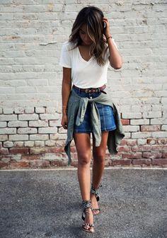 white v-neck tee + denim skirt #splendid #ae