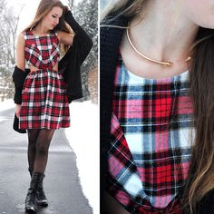 Lauren Oberlin - Forever 21 Gold Spike Choker, Karmaloop Plaid Cutout Dress, Urban Outfitters Black Slouchy Cardigan - FROSTBITE