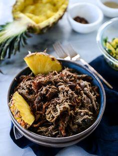 Slow Cooker Jerk Pork Pineapple Rice Bowl | How Sweet Eats