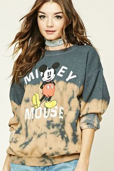 """A fleece knit dip-dyed sweatshirt featuring a front """"Mick Mouse"""" graphic with an image of Mickey himself, a round neckline, long dolman sleeves, and ribbed trim. Dip Dye Tops, Clothes Encounters, Mickey Mouse Sweatshirt, Black Friday Shopping, Disney Outfits, Disney Clothes, Cute Casual Outfits, Knit Jacket, Long Tops"""