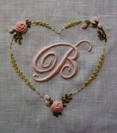 Elisabetta ricami a mano~Lovely Hand Embroidery, inscribed in a Heart~❥ Embroidery Letters, Ribbon Embroidery, Cross Stitch Embroidery, Machine Embroidery, Embroidery Designs, Vintage Embroidery, Vintage Handkerchiefs, Brazilian Embroidery, Heirloom Sewing