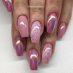 LE Pink Diamond 💕 nailsbybano jet_set_beauty_na+ Pink Gel Nails, Sexy Nails, Cute Acrylic Nails, Fancy Nails, Toe Nails, Pink Chrome Nails, Gold Nail, Coffin Nails, Colorful Nail Designs