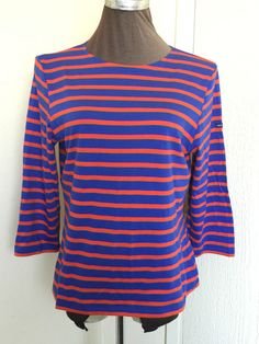 Saint James size 16 orange and blue striped scoop neck 3/4 sleeve cotton top #SaintJames #scoopneck #Casual
