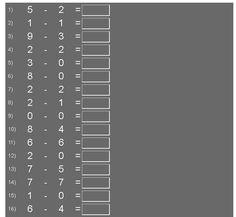 KINDERGARTEN SUBTRACTION TEST: Numbers subtraction Free online numbers subtraction interactive math test. Subtract two single-digit numbers.