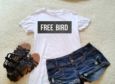 Free bird quote t-shirt in white or black size s med by StarrJoy16