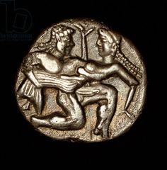 Rare Ancient Greek Coin from Thasos with Ithyphallic Satyr Circa 500 BC (photo)