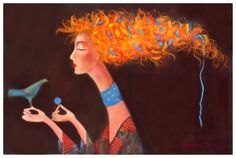 by Kate Smith Kate Smith, Orange You Glad, Beautiful Paintings, Mixed Media Art, Art Drawings, Art Pieces, Art Gallery, Fantasy, Bird