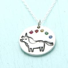 Chocolate and Steel Unicorn and Rainbow Necklace