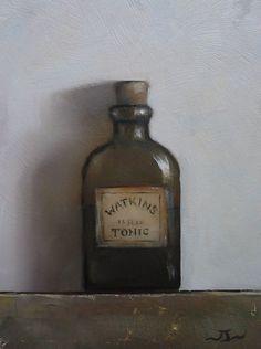 Original Oil Painting - Watkins Tonic - Vintage/Retro Still Life Art - Nelson