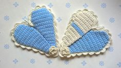 Crocheted oven mitts