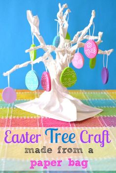 Kids Craft: Paper Bag Easter Tree -- quick & easy to make! #kids #crafts #easter