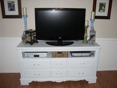 Make an old dresser into a TV console; love the transformation (I am doing this myself so collecting lots of examples) {Craftify It}